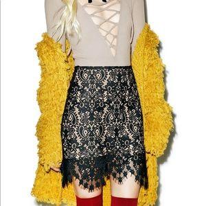 For Love and Lemons Avila mini lace skirt